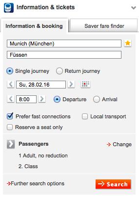 DB MunichToFussen 日本から予約可能!DBドイツ鉄道の切符をネットで購入する方法