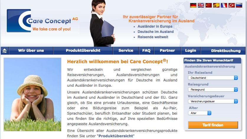 careconcept website ドイツ留学の保険CareConceptに関するお問い合わせ