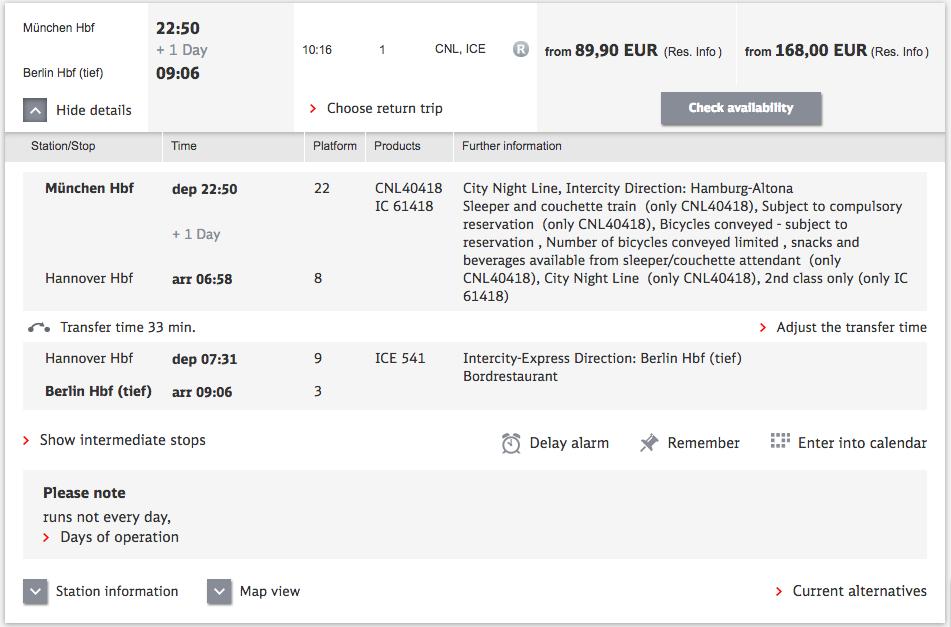 DB result detail 旅行に便利!ドイツの夜行列車をネットから予約する方法!