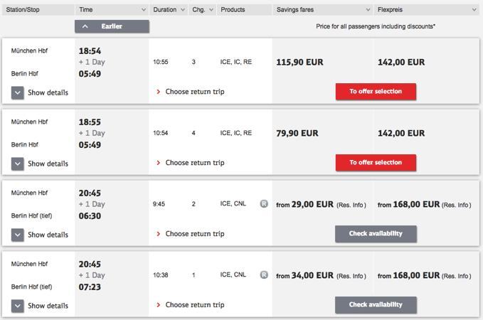 DB resultlist 旅行に便利!ドイツの夜行列車をネットから予約する方法!